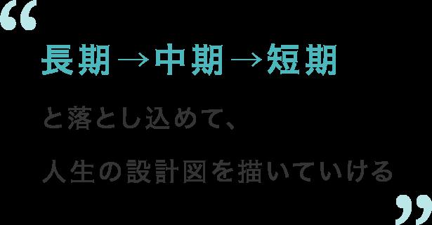 長期→中期→短期と落とし込めて、人生の設計図を描いていける